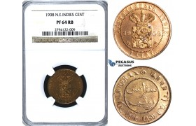U47, Netherlands East Indies (Malay Archipelago) Wilhelmina, 1 Cent 1908, Utrecht, NGC PF64RB (Pop 1/2) Rare!
