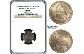 U49, New Caledonia (French Colony) ESSAI 50 Centimes 1948, Paris, NGC MS65 KM-E1
