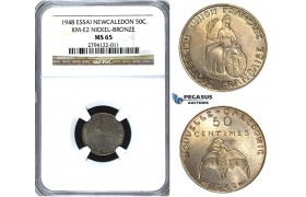 U50, New Caledonia (French Colony) ESSAI 50 Centimes 1948, Paris, NGC MS65 KM-E2
