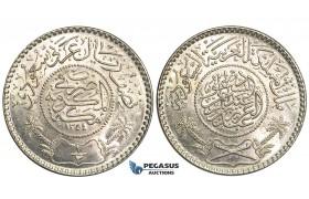 U59, Saudi Arabia, Abd Al-Aziz Bin Sa'ud, 1/2 Riyal AH1354, Silver, UNC