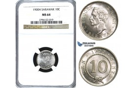 U60, Sarawak, C. Brooke Rajah, 10 Cents 1900-H, Heaton, Silver, NGC MS64 (Pop 1/4) Rare Grade!
