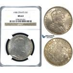 U64, Straits Settlements, Edward VII, Dollar 1908, Silver, NGC MS63