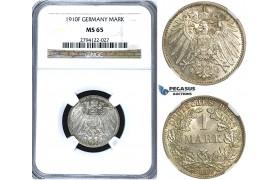 U68, Germany, Wilhelm II, 1 Mark 1910-F, Stuttgart, Silver, NGC MS65