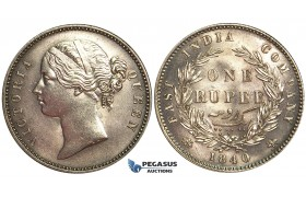U75, East India Company (EIC) Victoria, Rupee 1840 (B&C) SW 3.33, 28 Berries, Silver, Mint State (Lightly cleaned)