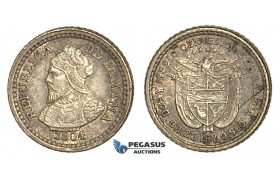 U77, Panama, 2-1/2 Centesimos 1904, Silver, Toned High Grade!