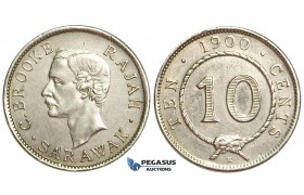 U83, Sarawak, C. Brooke Rajah, 10 Cents 1900-H, Heaton, Silver, High Grade (Lightly Cleaned)