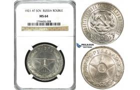 U93, Soviet Union (RSFSR) Rouble 1921, Leningrad, Silver, NGC MS64