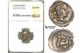 U96, Roman Republic, L. Procilius (80 BC) AR Denarius Serratus (4.08g) Rome, Juno Sospita, NGC Ch XF* Star