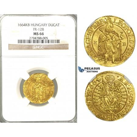 U98, Hungary, Leopold I, Ducat 1664 K-B, Kremnitz, Gold (3.56g) NGC MS66 (Pop 1/1, Finest known) Very rare so nice!