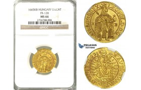 U99, Hungary, Leopold I, Ducat 1665 K-B, Kremnitz, Gold (3.52g) NGC MS66, (Pop 1/1, Finest known) Very rare so nice!