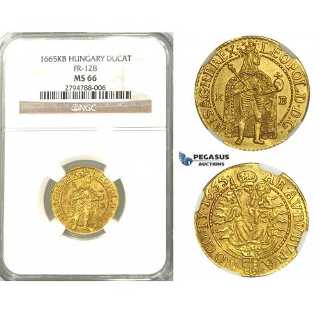 U99, Hungary, Leopold I, Ducat 1665 K-B, Kremnitz, Gold (3.52g) NGC MS66, (Pop 1/1, Finest known) Very rare so nice!