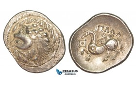 V04, Celts (2nd - 3rd C. BC) Zigzag type AR Tetradrachm (12.03g) Rare!