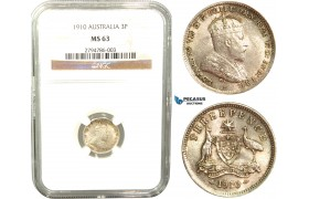 V05, Australia, Edward VII, Threepence (3P) 1910, Silver, NGC MS63