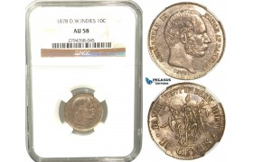 V29, Danish West Indies, Christian IX, 10 Cents 1878, Copenhagen, Silver, NGC AU58