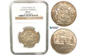 V32, Estonia (Toompea Fortress) 2 Krooni 1930, Silver, NGC MS61