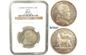 V33, Ethiopia, Menelik II, 1/2 Birr EE1889-A, Paris, Silver, NGC MS63