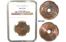 V34, French Indo-China, Centime 1901-A, Paris, NGC MS67BN (Pop 1/1, Finest!)