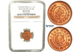 V41, India, Travancore, 4 Cash ND (1938-49) NGC MS65RD