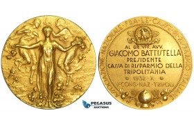 V43, Italy/Libya, Tripoli, Congress of Italian banks 1932, Gold fascist medal (Ø 52mm, 60.9g) 18K