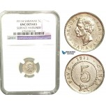 V48, Sarawak, C. Brooke Rajah, 5 Cents 1911-H, Heaton, Silver, NGC UNC