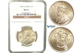 V49, South Africa (Union) George V, 2 Shillings 1934, Silver, NGC MS63