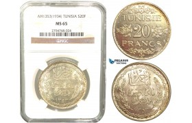 V58, Tunisia, 20 Francs AH1353/1934, Paris, Silver, NGC MS65