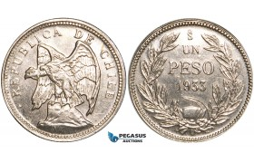 V60, Chile, Pattern Peso in Nickel 1933-SO, Santiago, aUNC (Few handlings marks) Very Rare!