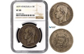 AA876-R, Venezuela, 5 Bolivares 1879, Brussels, Silver, NGC VF30, Rare!
