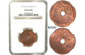 W24, French Indo-China, 1 Centime 1911-A, Paris, NGC MS64RB