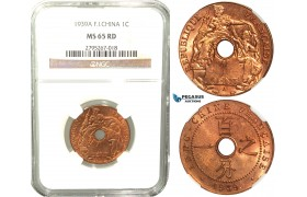 W28, French Indo-China, 1 Centime 1939-A, Paris, NGC MS65RD