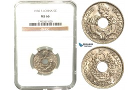 W30, French Indo-China, 5 Centimes 1930, Paris, NGC MS66 (Pop 1/1, Finest)