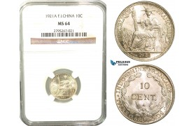 W31, French Indo-China, 10 Centimes 1921-A, Paris, Silver, NGC MS64