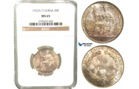 W33, French Indo-China, 20 Centimes 1923-A, Paris, Silver, NGC MS65 (Pop 1/2, No finer)