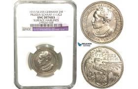 W38, Germany, Prussia, Goetz Pattern 2 Mark 1913, Silver, S. 111/G3, NGC UNC