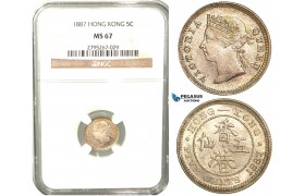 W39, Hong Kong, Victoria, 5 Cents 1887, London, Silver, NGC MS67 (Pop 1/1, Finest) Very Rare Grade!