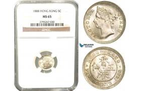 W40, Hong Kong, Victoria, 5 Cents 1888, London, Silver, NGC MS65