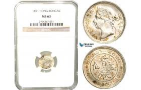 W41, Hong Kong, Victoria, 5 Cents 1891, London, Silver, NGC MS63