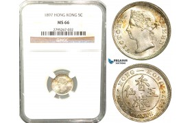 W42, Hong Kong, Victoria, 5 Cents 1897, London, Silver, NGC MS66