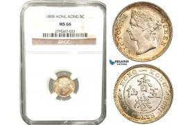 W43, Hong Kong, Victoria, 5 Cents 1898, London, Silver, NGC MS66