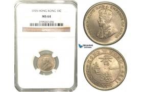 W46, Hong Kong, George V, 10 Cents 1935, NGC MS64