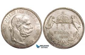 W47, Hungary, Franz Joseph, 5 Korona 1900-KB, Kremnitz, Silver, UNC (Cleaned)