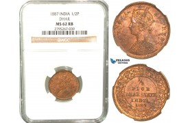 W49, India (British) Dhar State, Victoria, 1/2 Pice 1887, NGC MS62RB