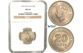W51, Malaya, George VI, 20 Cents 1950, NGC MS64