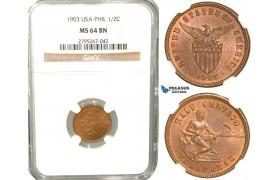W52, Philippines (US Mandate) 1/2 Centavo 1903, NGC MS64BN