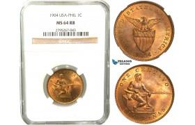 W53, Philippines (US Mandate) 1 Centavo 1904, NGC MS64RB