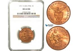 W54, Philippines (US Mandate) 1 Centavo 1911-S, San Francisco, NGC MS64RB