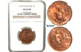 W56, Philippines (US Mandate) 1 Centavo 1939-M, Manila, NGC MS65RB