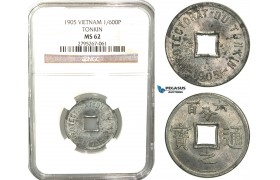 W70, Vietnam (Tonkin) 1/600 Piastre 1905, NGC MS62