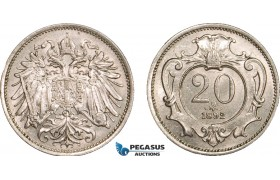 AA962, Austria, Franz Joseph, 20 Heller 1892, Vienna, Lustrous AU+