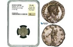 Y18, Roman Empire, Hadrian (117-138 AD) AR Denarius (3.34g) 119-122 AD, Rome, PAX, NGC Ch AU Fine Style